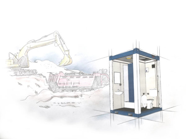 Toiletten Container - mobile Umkleiden