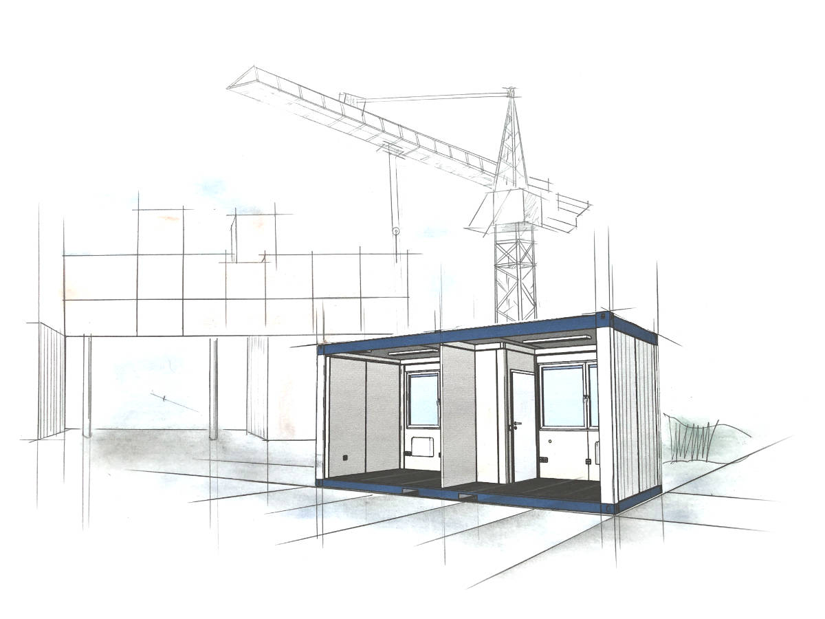 bürocontainer mieten, bürocontainer mieten kosten pro tag, bürocontainer mieten nrw, raumcontainer standard mit wc und kueche 20 ft - Container Grösse - Wohncontainer Preise - Container Preis